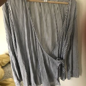 Striped wrap style blouse- blue and white